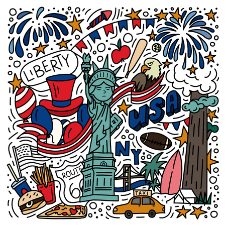 American symbols doodle style hand drawn poster. Stock vector Illustration