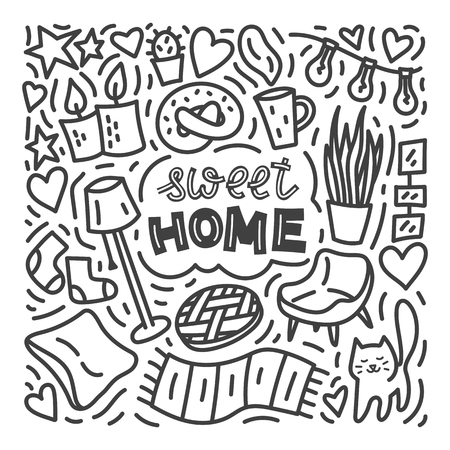 Sweet home doodle illustration with cat, plants, pictures, cup of coffee. Stock vector
