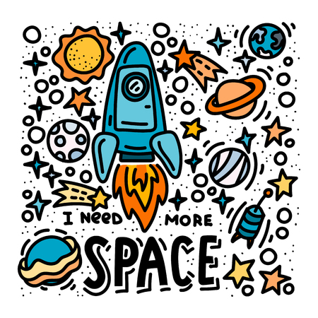 I need more space doodles and lettering. Cartoon hand drawn rocket and planets poster design Vector Illustration