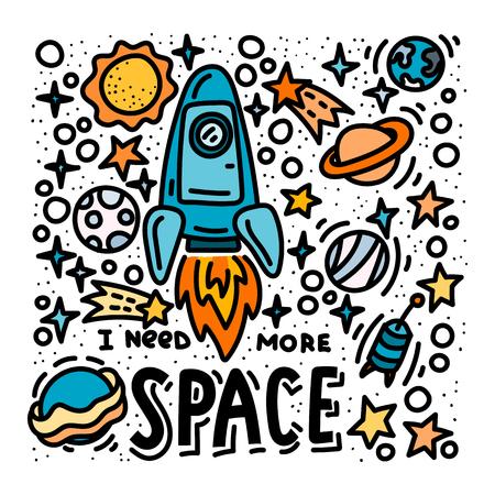 Ich brauche mehr Platzkritzeleien und Schriftzüge. Karikatur hand gezeichnete Rakete und Planetenplakatdesign Vektorgrafik