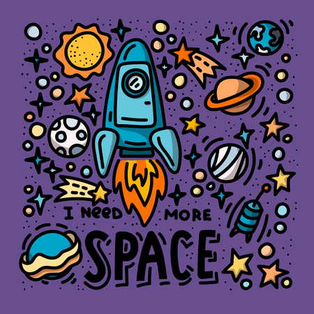 I need more space doodles and lettering. Cartoon hand drawn rocket and planets poster design Ilustração