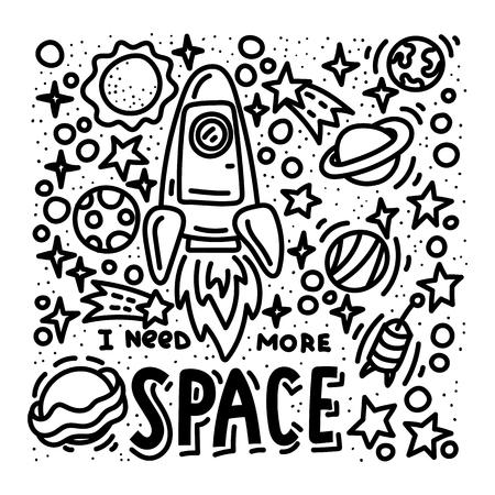 Necesito más garabatos y letras espaciales. Diseño de carteles de cohetes y planetas dibujados a mano. Stock vector
