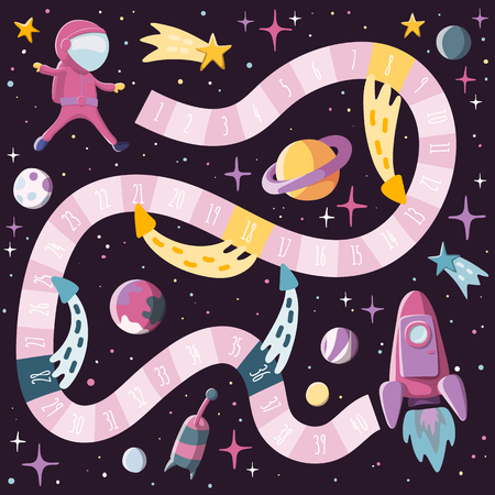 Cartoon style kids science and space board game with astronaut, rocket, planents, sputnik. Template design. Stock vector