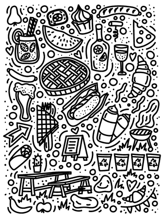 Street food festival doodle hand drawn elements. Stock vector Illusztráció