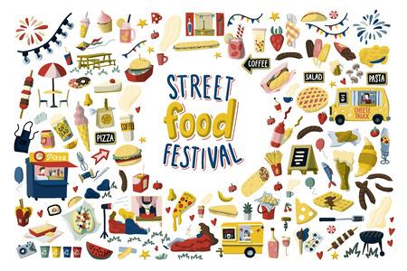 Street food festival hand drawn cartoon elements set
