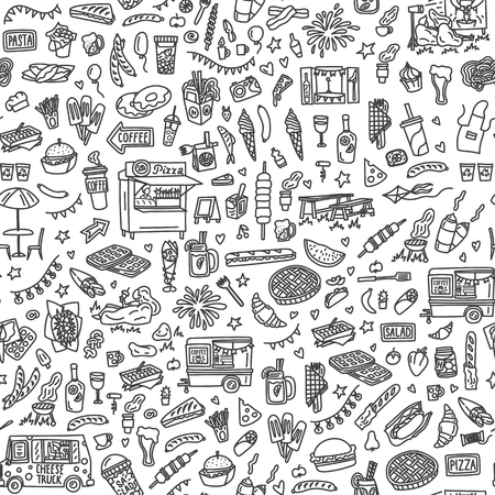 Street food festival hand drawn doodles seamless pattern. Monochrome background. Stock vector Stock Illustratie