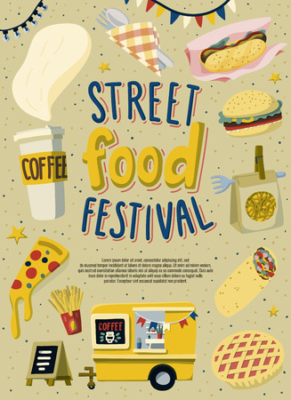 Street food festival poster template design. Hand drawn lettering and fast food in doodle style. Stock Illustratie