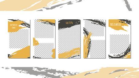 Set of editable social media stories templates. Simple minimalistic brush mark design