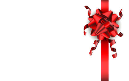 Realistic red bow isolated on white background. Stock vecotr Illustration