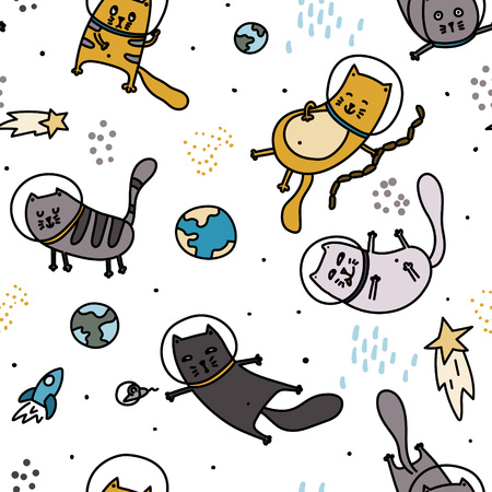 Cats in space seamless pattern. Doodle hand drawn scandinavian childish background. Stock vector