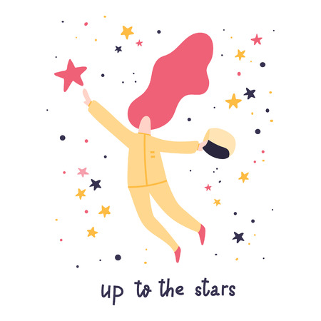 Up to the stars. Woman astronaut trying to get to the star. Flat style illustration. Hand written lettering. Stock vector Vettoriali