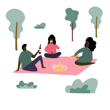 Group of afroamerican people have a picnic at the park. Stock vector Ilustração