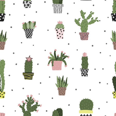 Cactus in pot seamless hand drawn pattern. Scandinavian simple cartoon style dotted background. Stock vector