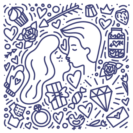 Doodle hand drawn Valentine's Day concet with couple. Man and woman are kissing. Chocolate, diamod, heart, ring, sweets and ther symbols of love. Stock vector Ilustración de vector