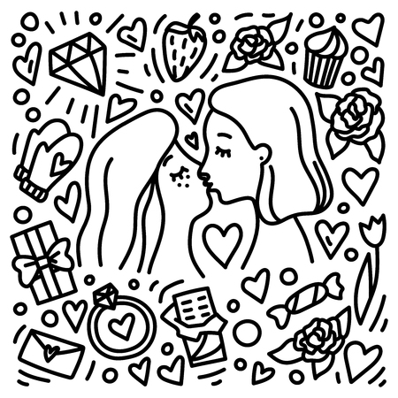 Two young women kissing each other. Valentines Day hand drawn doodle style concept. Gay romantic couple. Homosexual relationship.