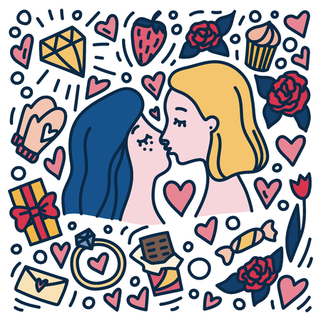Lesbian couple. Women in love kissing. Cartoon style gays people. Hand drawn doodle style concept for St. Valentines Day with symbols of love