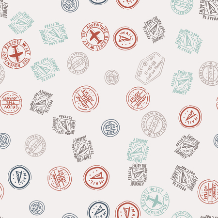 Passport or post stamps and signs seamless pattern. Retro design background