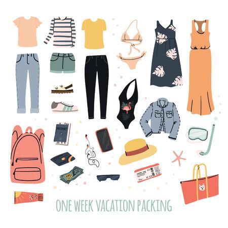 Un'illustrazione disegnata a mano dell'imballaggio di vacanza di una settimana. Set di vestiti femminili per il viaggio estivo. Viaggio bagaglio a mano - pantaloni e jeans, vestito e t-shirt, camicetta e costume da bagno ecc