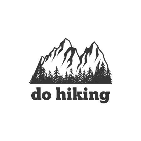 Do hiking. Mountain adventures logo or stamp, pin or emblem, t-shirt print design