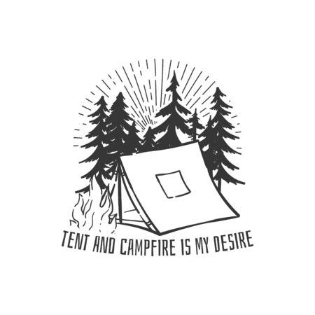 松の木とキャンプファイヤーとマウンテンキャンプのロゴ。スタンプ、ピン、Tシャツプリントデザイン