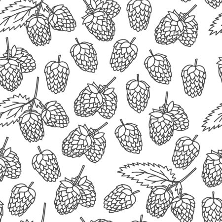 Hop branch with leaves hand drawn doodle style seamless pattern