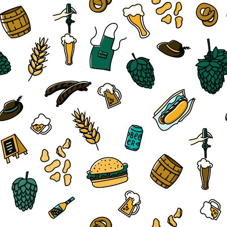 Craft beer and snacks hand drawn doodle style seamless pattern. Cartoon background for wallpaper, fabric, apparel etc.. Stock vector