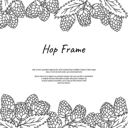 Beer hop frame. Vintage beer design template. Hand drawn doodle style beer fest flyer concept