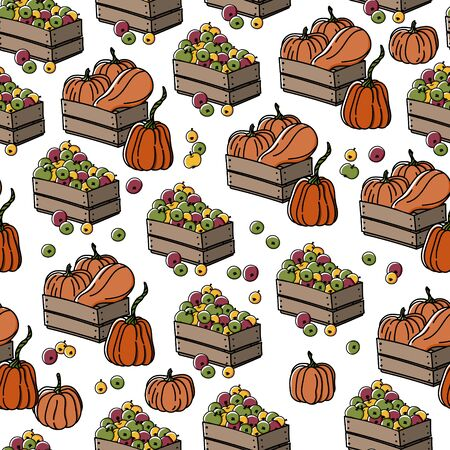 Seamless pattern with pumpkin and apple harvest garden boxes