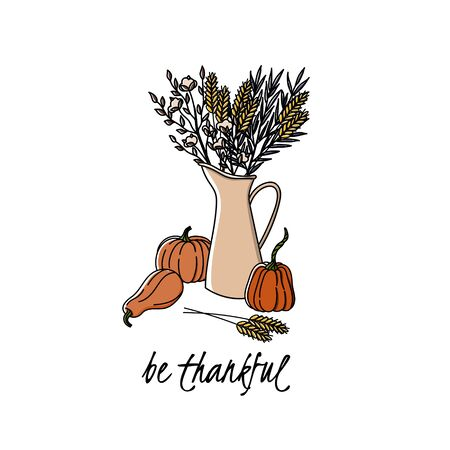 Be thankful. Thanksgiving day postcard or poster with pumpkins, spikes, cotton and agonis in a jug.