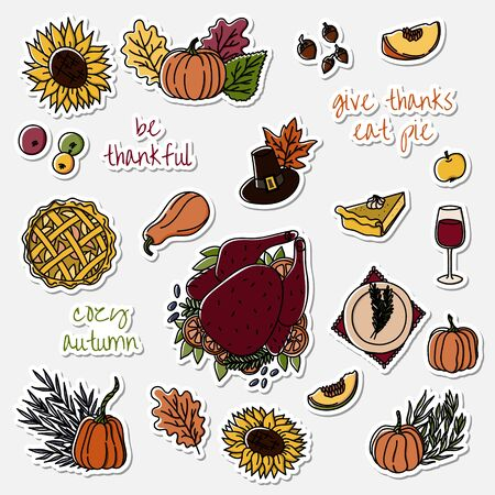 Thanksgiving day stickers set. Hand drawn elements of thanksgiving celebration - traditional turkey, apple pie, wine, pilgrim hat and pumpkin etc. Illustration