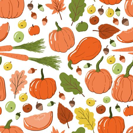 Thanksgiving seamless pattern with pumpkins, autumn leaves, carrots, acorns and apples. Hand drawn cartoon style background for wrapping, wallpaper, apparel, home decor etc.