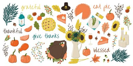 Cartoon style Thanksgiving traditional hand drawn symbols. Turkey, apple pie, pumpkin pie, jag with sunflowers, bulb garland etc.