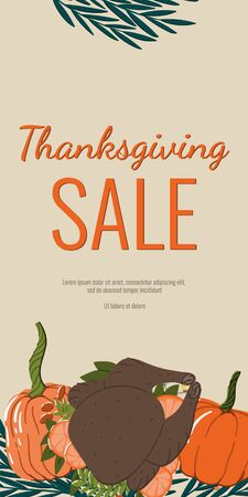 Thanksgiving sale hand drawn cartoon style web banner or seasonal promo offer discount poster