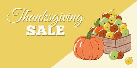 Thanksgiving sale banner or flyer with cartoon style hand drawn garden box of apples and pumpkins. Illustration