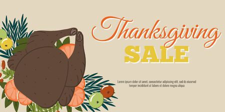 Thanksgiving sale banner or autumn seasonal promo offer discount poster template for shopping.