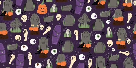 Halloween cartoon style hand drawn seamless pattern with coffin, grave, raven, zombie hand. Fabric textile, wrapping paper or web background. Stock vector