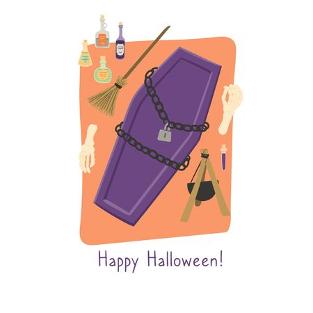 Happy Halloween! Coffin, witchs broom and potions postcard, print for mug, t-shirt etc