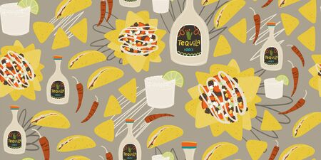Mexican food taco tequila margarita hand drawn cartoon style seamless pattern.