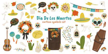 Dia De Los Muertos cartoon style hand drawn holiday symbols set - cactus, tequila, cat skeleton, skull, taco, guitar, nachos, coffin, marigold etc.