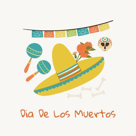 Dia De Los Muertos. Day of the Dead greeting card template hand drawn cartoon style sombrero, skull, marigold, mexican maraca holiday concept. 向量圖像