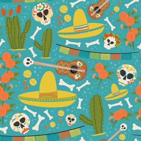 Mexican symbols hand drawn cartoon style seamless pattern. Dia de los Muertos or Day of the Dead endless fabric background.