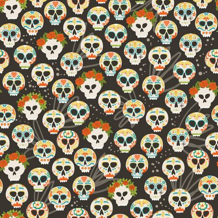Dia De Los Muertos flower holiday skull seamless pattern hand drawn cartoon style fabric textile background. Day of the Dead.