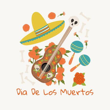 Dia De Los Muertos greeting card hand drawn cartoon style template with guitar, sombrero, mexican maraca.