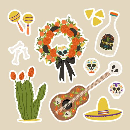 Dia De Los Muertos cartoon style hand drawn stickers set with holiday wreath, mexican guitar, maraca, cactus, tequila and nachos.  イラスト・ベクター素材
