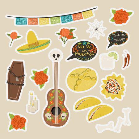 Dia De Los Muertos cartoon style hand drawn stickers set with nachos, margarita, guitar, sombrero, coffin, taco, pan de mureto etc.