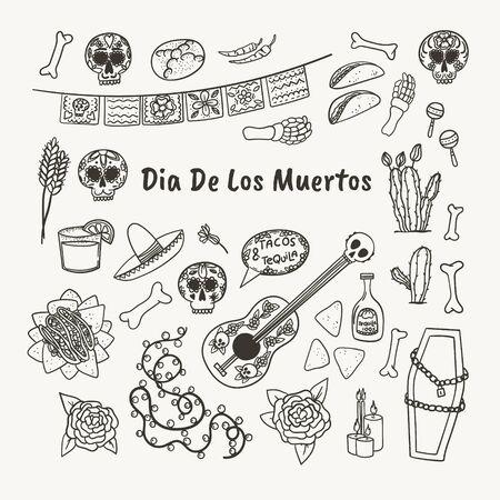 Mexican symbols hand drawn doodle style set. Taco, nachos, tequila, margarita, skull, cactus, guitar etc. Stock vector