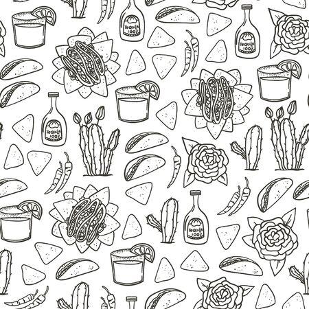 Fondo de estilo doodle dibujado a mano mexicano de patrones sin fisuras con taco, nachos, tequila, margarita, pimiento rojo picante, cactus para textiles, papel tapiz, papel de regalo, etc.