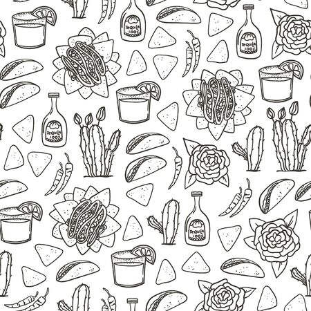 Mexican seamless pattern hand drawn doodle style background with taco, nachos, tequila, margarita, red hot pepper, cactus for textile, wallpaper, wrapping paper etc. Çizim