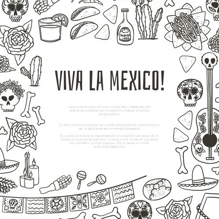Viva la Mexico Hand drawn doodle style mexican symbols frame for book cover or magazine page with taco, nachos, tequila, margarita, guitar and maracas. Stock vector Ilustracja