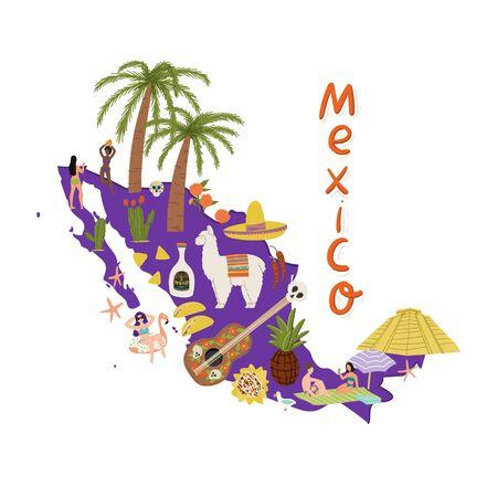 Hand drawn cartoon flat style map of Mexico with symbols - tequila, cactus, taco, nachos, pyramid, sombrero, lama etc. Stock vector